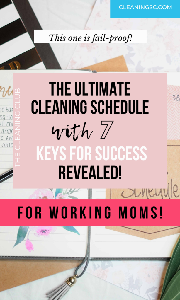 Pin cover on a cleaning schedule for working moms exclusively for pinterest.